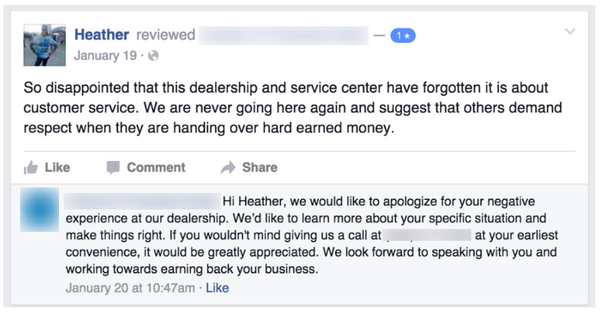 Responding to a negative Google review for a small business
